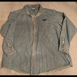 Tops - Vintage 90s rainforest cafe denim button up shirt